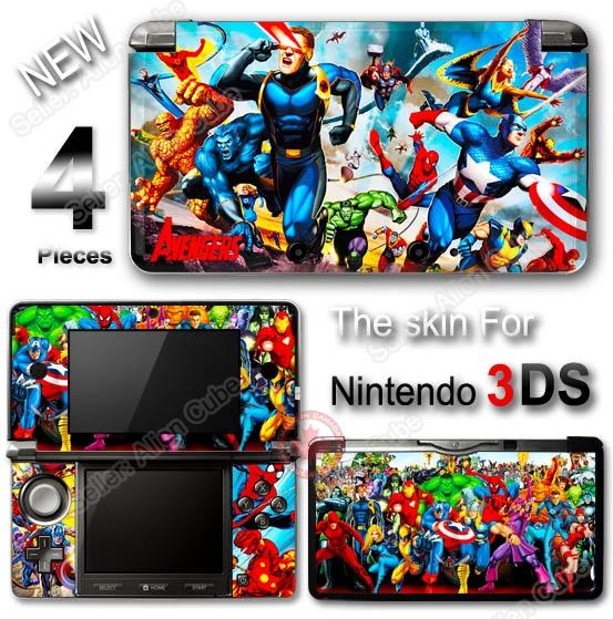 Captain America Spider Man Iron Man Avengers Skin Sticker Cover for Nintendo 3DS